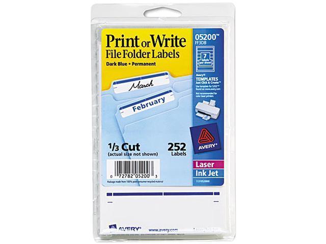 Avery 05200 Print or Write File Folder Labels, 11/16 x 3-7/16, White/Dark Blue Bar, 252/Pack