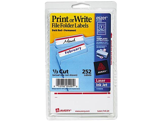 Avery 05201 Print or Write File Folder Labels, 11/16 x 3-7/16, White/Dark Red Bar, 252/Pack