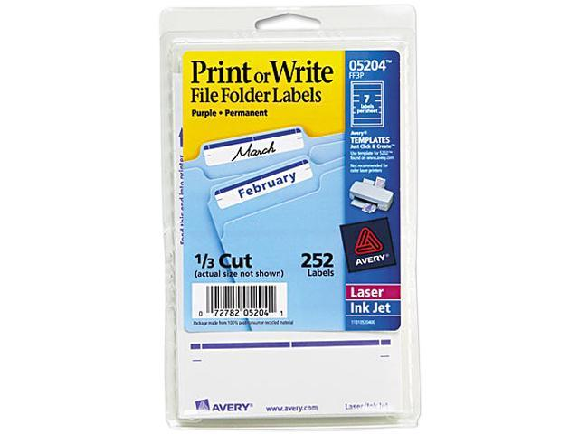 Avery 05204 Print or Write File Folder Labels, 11/16 x 3-7/16, White/Purple Bar, 252/Pack
