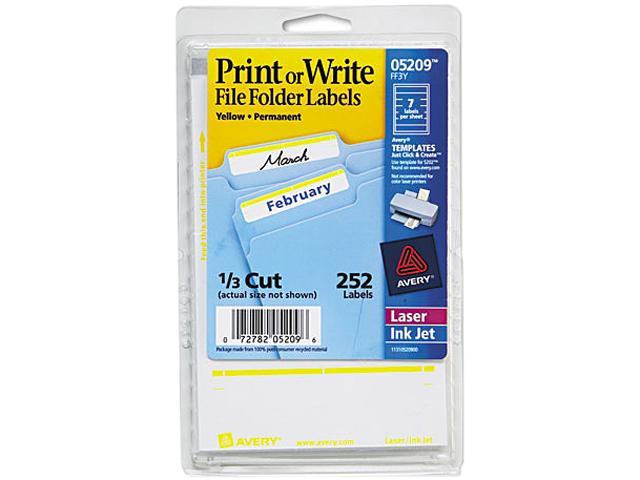 Avery 05209 Print or Write File Folder Labels, 11/16 x 3-7/16, White/Yellow Bar, 252/Pack