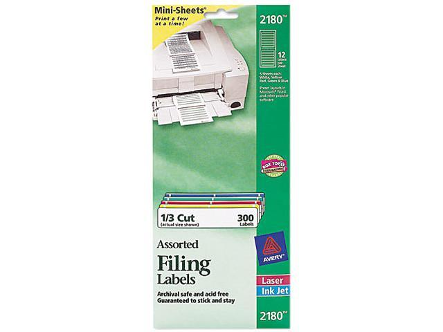 Avery 2180 File Folder Labels on Mini-Sheets, 2/3 x 3-7/16, Assorted, 300/Pack