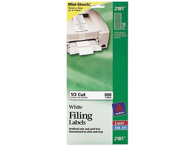 Avery 2181 File Folder Labels on Mini-Sheets, 2/3 x 3-7/16, White, 300/Pack