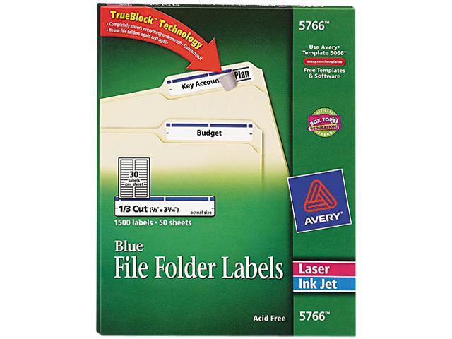 Avery 5766 Self-Adhesive Laser/Inkjet File Folder Labels, Blue Border, 1500/Box