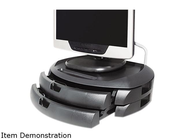 Kantek MS200B LCD Monitor Stand with 2 Drawers, 18 x 12 1/2 x 5, Black