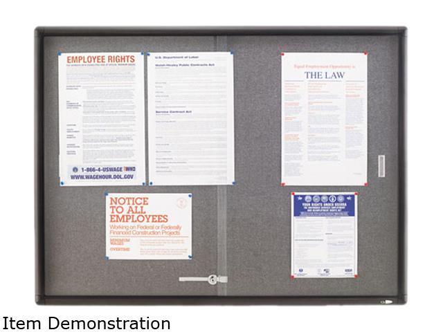 Quartet 2364S Enclosed Bulletin Board, Fabric/Cork/Glass, 48 x 36, Gray, Aluminum Frame