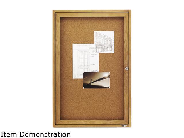 Quartet 363 Enclosed Bulletin Board, Natural Cork/Fiberboard, 24 x 36, Oak Frame