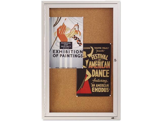 Quartet 2363 Enclosed Bulletin Board, Natural Cork/Fiberboard, 24 x 36, Aluminum Frame