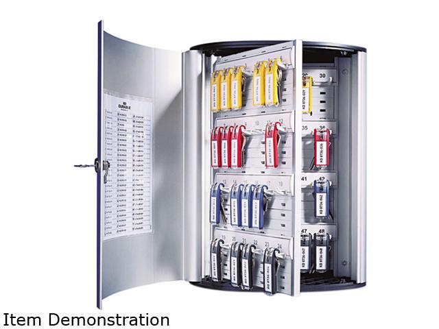 Durable Locking 36-Key Brushed Aluminum Cabinet, 11 3/4w x 4 5/8d x 11h, Silver