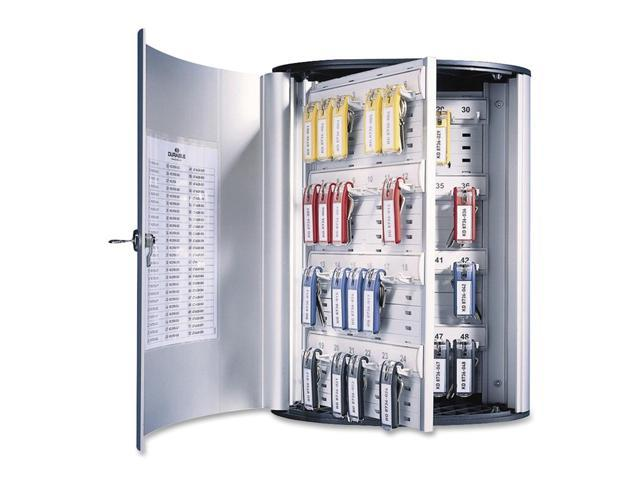 Durable Locking 72-Key Brushed Aluminum Cabinet, 11 3/4w x 4 5/8d x 15 3/4h, Silver