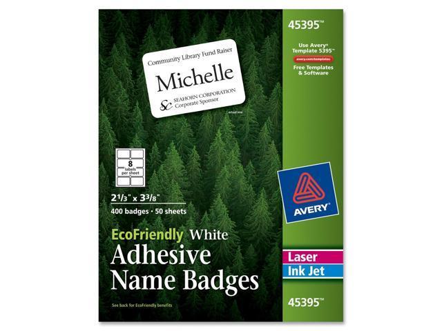 EcoFriendly Name Badge Labels, 2-1/3 x 3-3/8, White, 400/Box