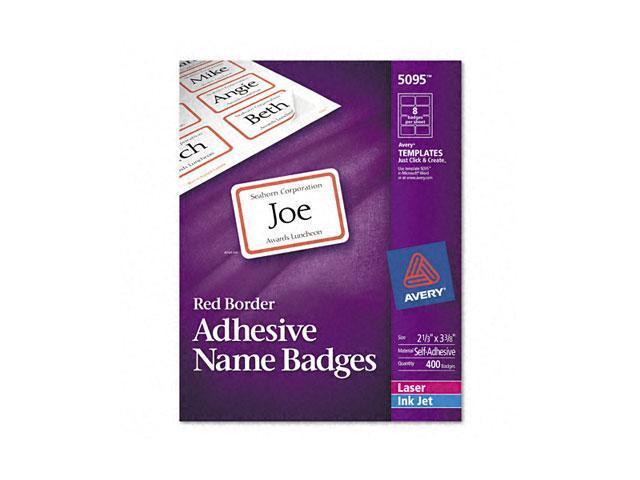Flexible Self-Adhesive Laser/Inkjet Name Badge Labels, 2-1/3 x 3-3/8, RD, 400/Bx