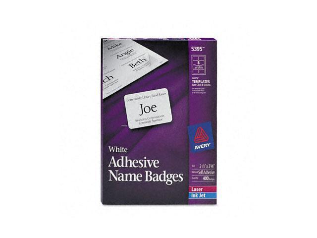 Flexible Self-Adhesive Laser/Inkjet Name Badge Labels, 2-1/3 x 3-3/8, WE, 400/Bx