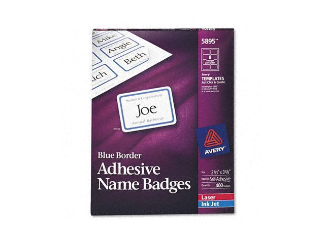 Flexible Self-Adhesive Laser/Inkjet Name Badge Labels, 2-1/3 x 3-3/8, BE, 400/Bx