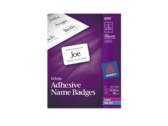 Flexible Self-Adhesive Laser/Inkjet Name Badge Labels, 2-1/3 x 3-3/8, WE, 160/Pk