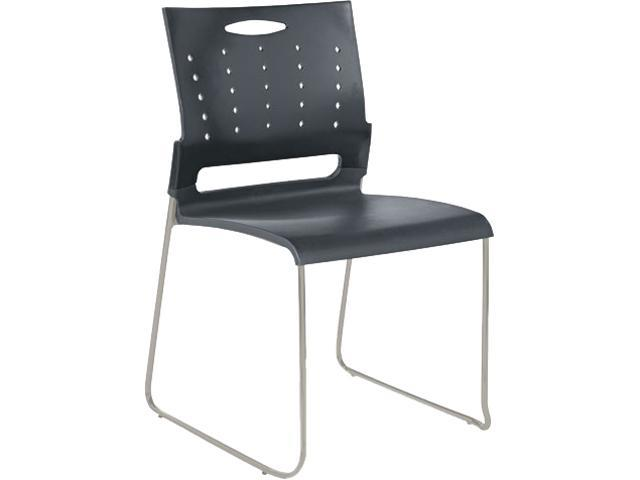 Alera Continental Series SC6546 (ALESC6546)Perforated Back Stacking Chairs, Charcoal Gray, 4/Carton