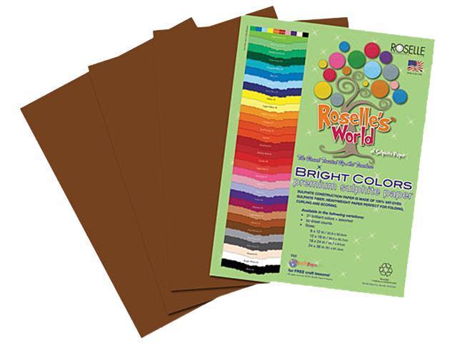 Roselle 72402 Premium Sulphite Construction Paper, 76 lbs., 12 x 18, Dark Brown, 50/Pack