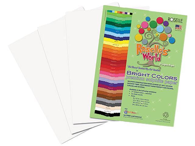 Roselle 76302 Premium Sulphite Construction Paper, 76 lbs., 12 x 18, Bright White, 50/Pack