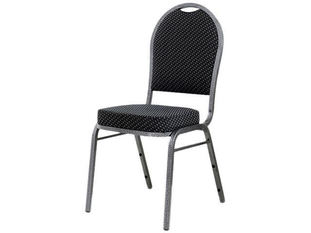 Lorell Upholstered Textured Fabric Stacking Chair Fabric Gray Seat - Fabric Gray Back - Steel Frame - 15