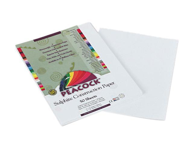 Pacon P8709 Peacock Sulphite Construction Paper, 76 lbs, 9 x 12, Bright White, 50 Sheets/Pk