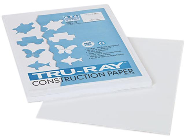 Pacon 103026 Tru-Ray Construction Paper, 76 lbs., 9 x 12, White, 50 Sheets/Pack