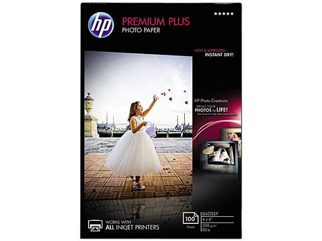 Hewlett-Packard CR668A Premium Plus Photo Paper, 80 lbs., Glossy, 4 x 6, 100 Sheets/Pack