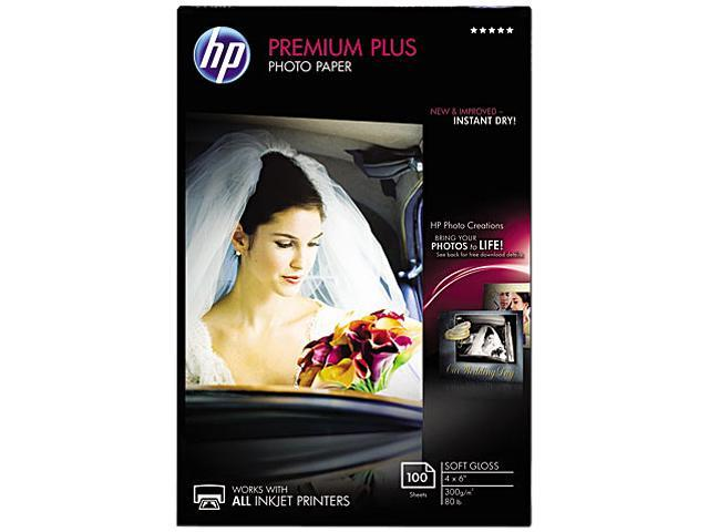 Hewlett-Packard CR666A Premium Plus Photo Paper, 80 lbs., Soft-Gloss, 4 x 6, 100 Sheets/Pack