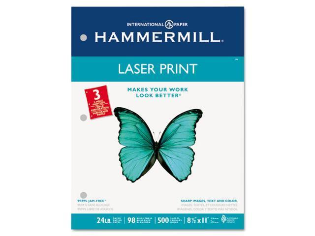 Hammermill 10768-1 Laser Print Office Paper, 3-Hole Punch, 98 Brightness, 24lb, Ltr, White, 500/Rm