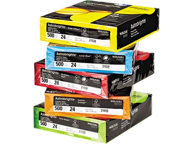 Wausau Paper 22999 Astrobrights Colored Paper, 24lb, 8-1/2 x 11, Assorted, 2500 Sheets/Carton