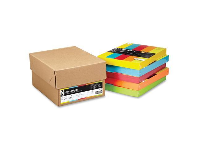 Wausau Paper 22998 Astrobrights Colored Paper, 24lb, 8-1/2 x 11, 5 Assorted, 1250 Sheets/Carton