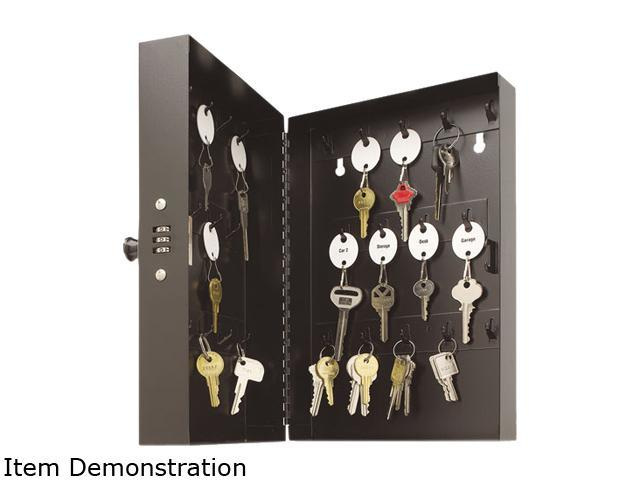 STEELMASTER by MMF Industries 201202804 Hook-Style Key Cabinet, 28-key, Steel, Black, 11 1/2