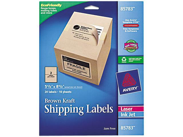 Avery 85783 Brown Kraft Shipping Labels, 5 1/2 x 8 1/2, 20/Pack