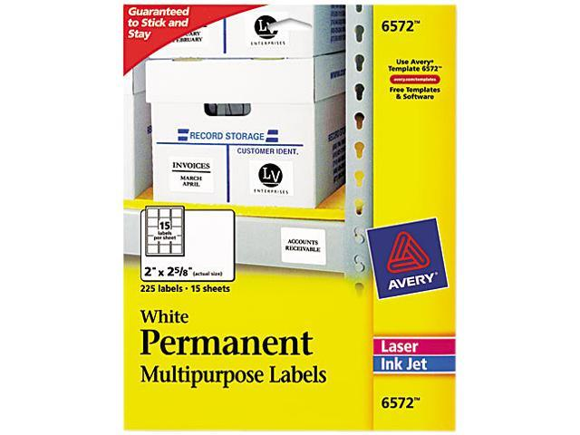 avery 6572 permanent id laser labels 2 x 2 5 8 white 225 pack