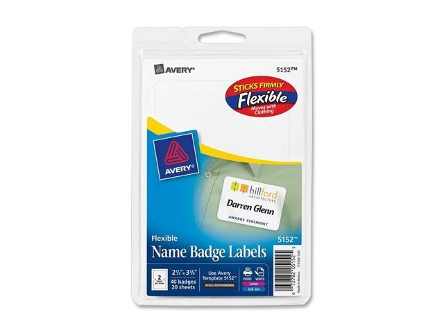 Flexible Self-Adhesive Laser/Inkjet Name Badge Labels, 2-1/3 x 3-3/8, WE, 40/Pk
