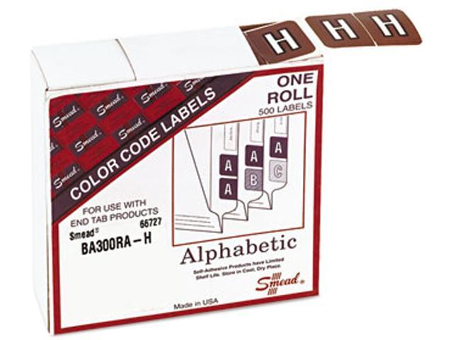 Smead 66727 Barkley-Compatible Labels, Letter H, 1 x 1-1/2, Brown, 500/Roll