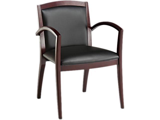 Alera Reception Lounge Series RL43BLS10M (ALERL43BLS10M)Guest Chair, Mahogany/Black Leather