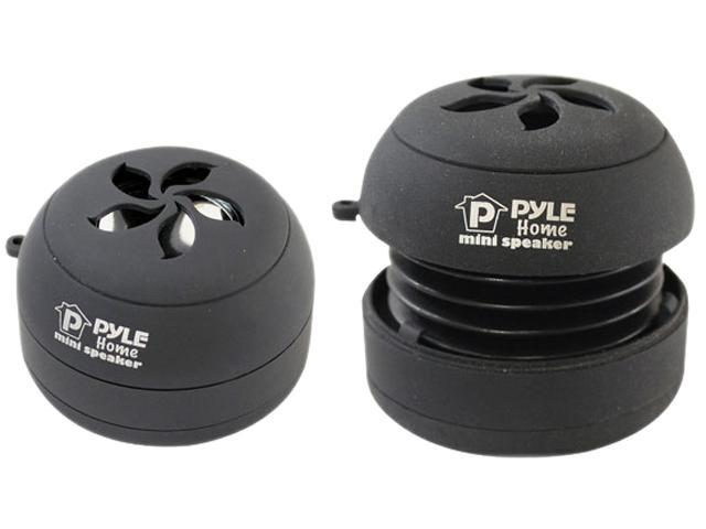 PYLE AUDIO PMS5DB Bass Expanding Rechargeable Mini Speakers Pair for iPod/MP3/Computers (Black)
