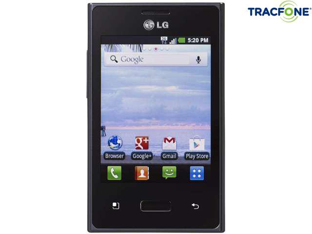 LG Optimus Dynamic 38C Black 800MHz Tracfone Android Smart Phone with 600 Minutes (200 Minute Airtime Card) & Triple Minutes for Life