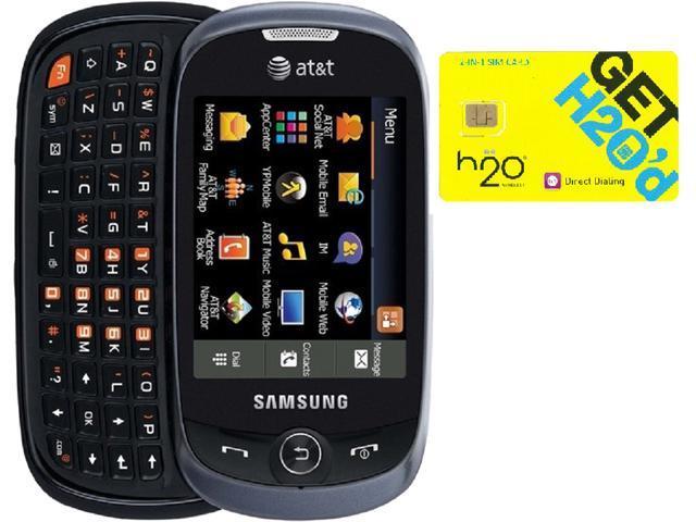 Samsung Flight II A927 Grey QWERTY Slider Phone + H2O $30 SIM Card