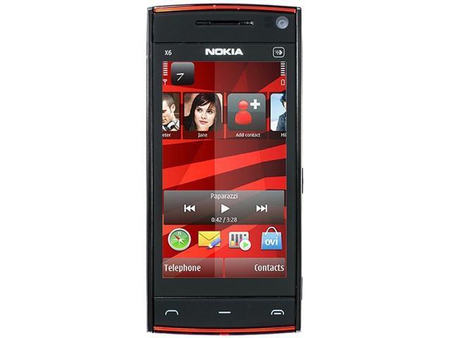 Nokia X6 X6-00 Black/Red 3G 16GB Unlocked GSM Symbian OS v9.4 Cell Phone