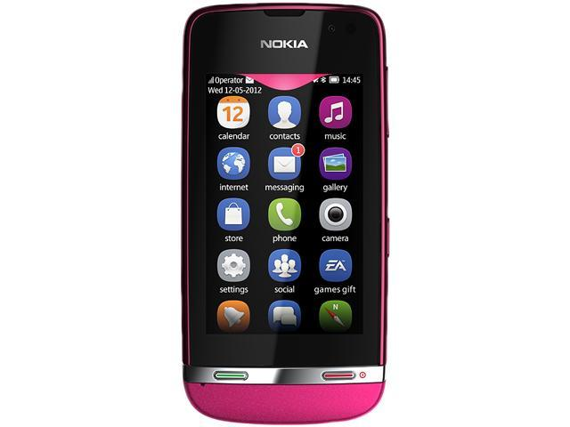 "Nokia Asha 311 140 MB, 256 MB ROM, 128 MB RAM Unlocked Cell phone 3.0"" Rose Red"