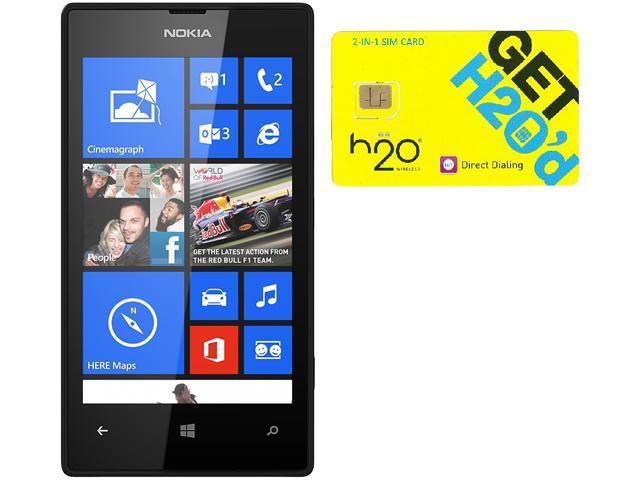 Nokia Lumia 520 RM-915 Black 8GB Windows 8 OS Phone + H2O $40 SIM Card