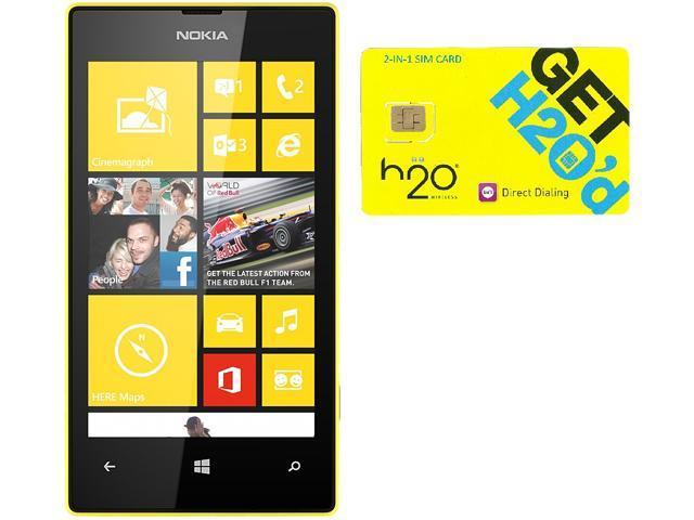 Nokia Lumia 520 RM-915 Black/Yellow 8GB Windows 8 OS Phone + H2O $60 SIM Card
