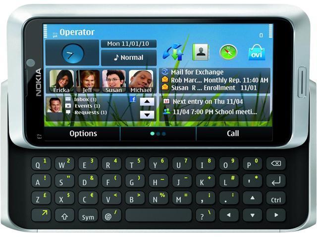 Nokia E7 E7-00 Silver 16GB Unlocked GSM Symbian^3 Slide-Out Keyboard Phone