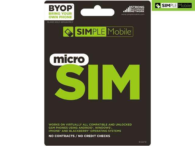Simple Mobile Activation Micro Sim Card Kit