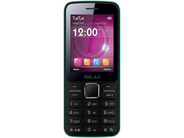 "Blu Janet T175 Internal 24 MB, 32MB RAM Unlocked GSM Dual-SIM Cell Phone 2.4"" Green"