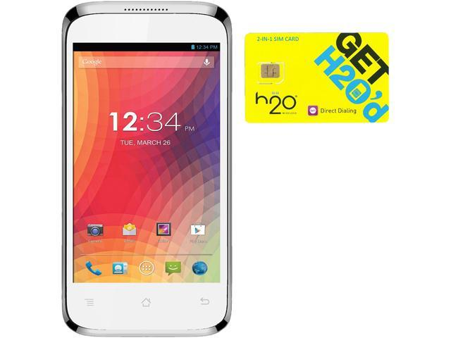 BLU Star 4.0 S410a White Android Cell Phone + H2O $60 SIM Card