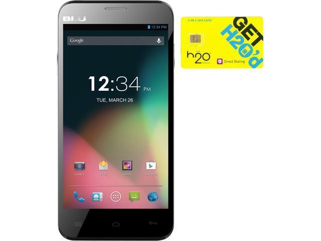 BLU Dash 5.0 D410a Black Dual-SIM Android Cell Phone + H2O SIM Card