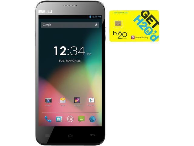 BLU Dash 5.0 D410a Black Dual-SIM Android Cell Phone + H2O $60 SIM Card