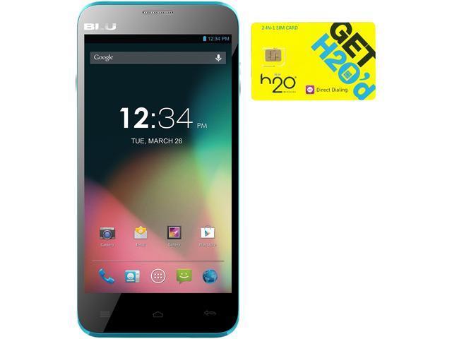 BLU Dash 5.0 D410a Blue Dual-SIM Android Cell Phone + H2O $60 SIM Card