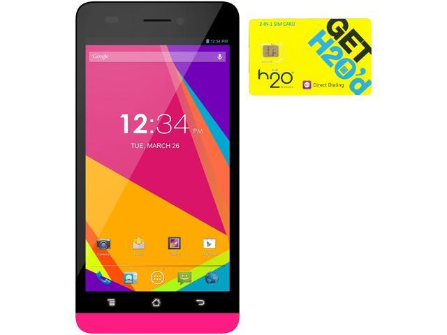 BLU Studio 5.0 LTE Y530Q Pink 4G LTE Quad-Core Android Phone + H2O $50 SIM Card